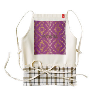 Hot pink,vintage,damask,gold,pattern,antique,ruby, zazzle HEART apron