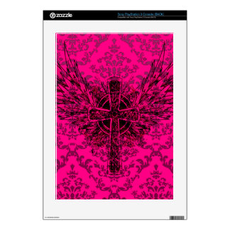 Hot Pink Vintage Winged Cross PS3 Decals