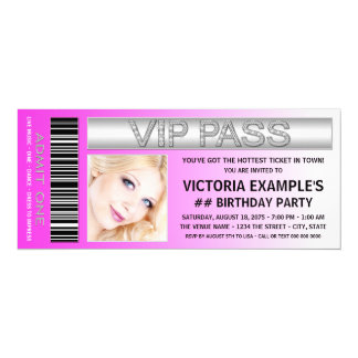 Hot Pink VIP Pass Admission Ticket Birthday Party Card