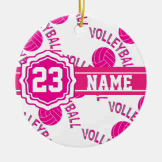 Hot Pink Volleyball Ceramic Ornament