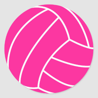 Hot Pink Volleyball Classic Round Sticker