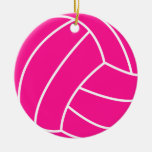 Hot Pink Volleyball Double-Sided Ceramic Round Christmas Ornament