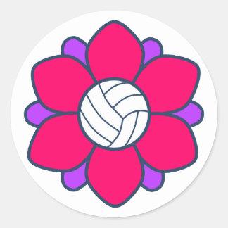 Hot Pink Volleyball Girl Classic Round Sticker