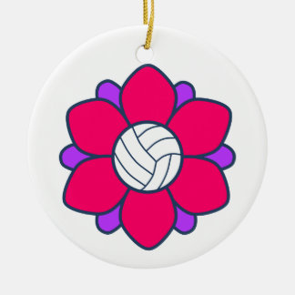 Hot Pink Volleyball Girl Christmas Ornaments