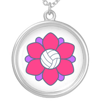 Hot Pink Volleyball Girl Silver Plated Necklace