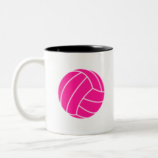 Hot Pink Volleyball Two-Tone Coffee Mug