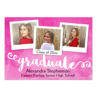 Hot Pink Wash Brushed 3 Photo Graduation Card