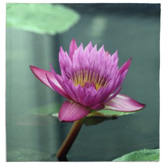 Hot Pink Water Lily Printed Napkin