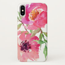 Hot Pink Watercolor Floral Pattern iPhone X Case