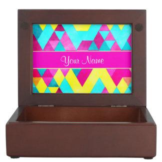 Hot Pink Watercolor Geometric Triangles Memory Box
