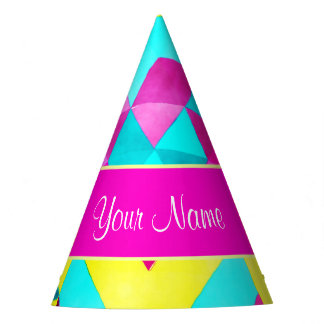 Hot Pink Watercolor Geometric Triangles Party Hat