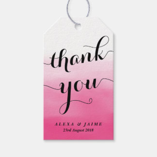 Hot Pink Watercolor Ombre Thank You Gift Tags