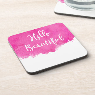 Hot Pink Watercolor Paint Splatter Hello Beautiful Drink Coaster