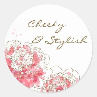 Hot Pink Watercolor Peonies Customizable Sticker