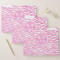 Hot Pink Watercolor Zebra Print   Personalized File Folder