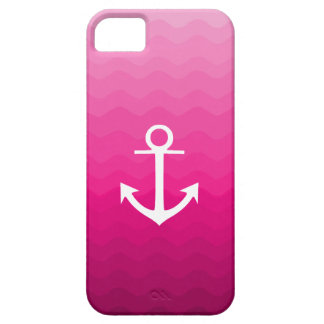 Hot Pink Wavy Anchor Nautical Pattern Design iPhone SE/5/5s Case