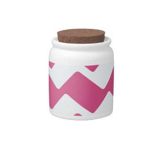 Hot Pink Wavy Chevrons Candy Jars