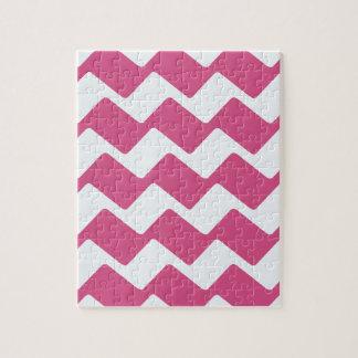 Hot Pink Wavy Chevrons Jigsaw Puzzle