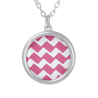 Hot Pink Wavy Chevrons Round Pendant Necklace
