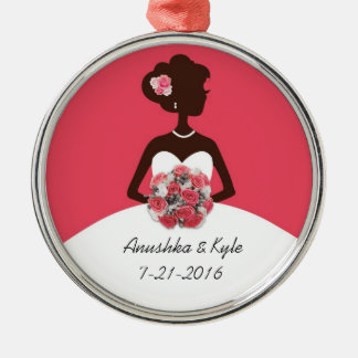 Hot Pink Wedding Gown Bridesmaid Ornament
