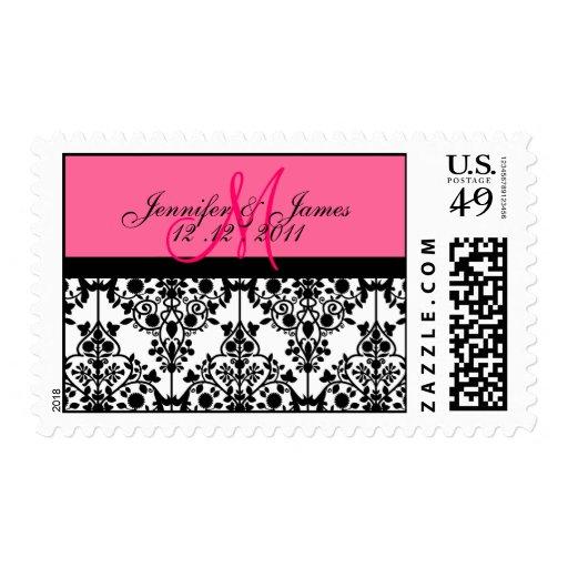 Hot Pink Wedding Monogram Damask Postage
