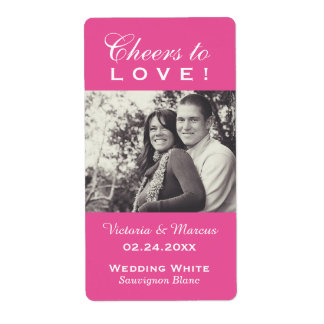 Hot Pink Wedding Photo Wine Bottle Favor Labels