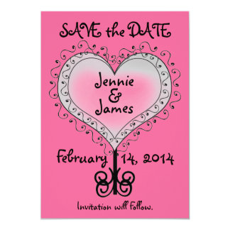Hot Pink Wedding Save the Date Card