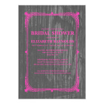 Hot Pink Western Barn Wood Bridal Shower Invites