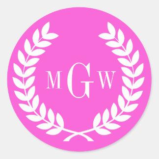Hot Pink Wheat Laurel Wreath Monogram Env Seals Sticker
