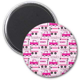 Hot Pink Wheels Vintage Cars Trucks Scooters Wagon 2 Inch Round Magnet