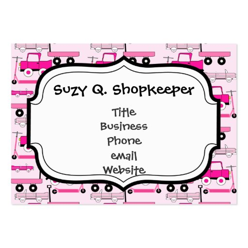 Hot Pink Wheels Vintage Cars Trucks Scooters Wagon Business Cards