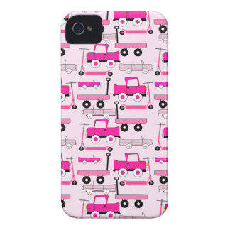Hot Pink Wheels Vintage Cars Trucks Scooters Wagon iPhone 4 Case-Mate Case