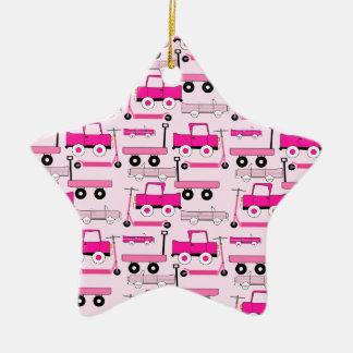 Hot Pink Wheels Vintage Cars Trucks Scooters Wagon Ceramic Ornament