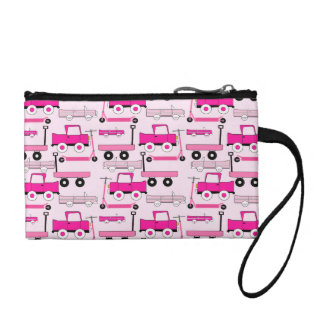Hot Pink Wheels Vintage Cars Trucks Scooters Wagon Change Purse