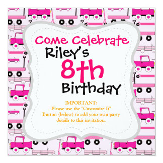 Hot Pink Wheels Vintage Cars Trucks Scooters Wagon Personalized Invitations