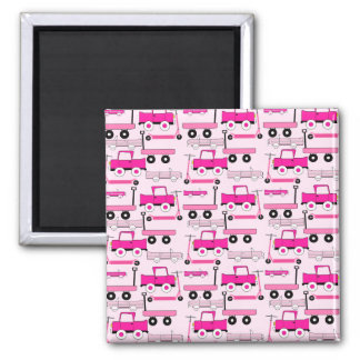 Hot Pink Wheels Vintage Cars Trucks Scooters Wagon Magnet