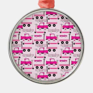 Hot Pink Wheels Vintage Cars Trucks Scooters Wagon Metal Ornament