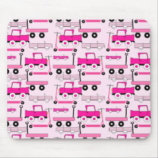 Hot Pink Wheels Vintage Cars Trucks Scooters Wagon Mousepad