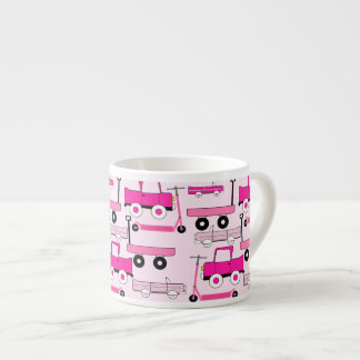 Hot Pink Wheels Vintage Cars Trucks Scooters Wagon 6 Oz Ceramic Espresso Cup
