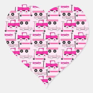 Hot Pink Wheels Vintage Cars Trucks Scooters Wagon Heart Sticker