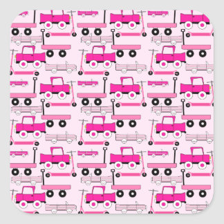 Hot Pink Wheels Vintage Cars Trucks Scooters Wagon Sticker