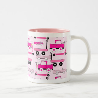 Hot Pink Wheels Vintage Cars Trucks Scooters Wagon Two-Tone Coffee Mug