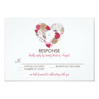 Hot Pink Whimsical Floral Heart Wedding RSVP Card