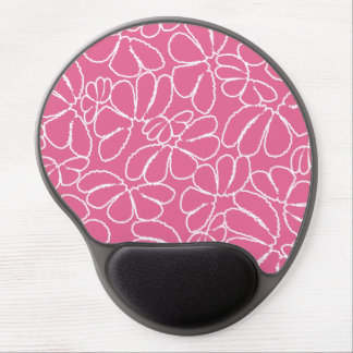 Hot Pink Whimsical Ikat Floral Doodle Pattern Gel Mouse Pad