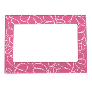 Hot Pink Whimsical Ikat Floral Doodle Pattern Magnetic Photo Frame