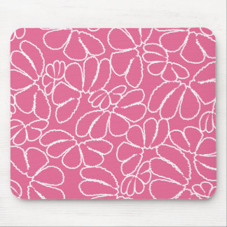 Hot Pink Whimsical Ikat Floral Doodle Pattern Mouse Pad