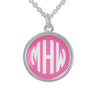 Hot Pink White 3 Initials in a Circle Monogram Personalized Necklace