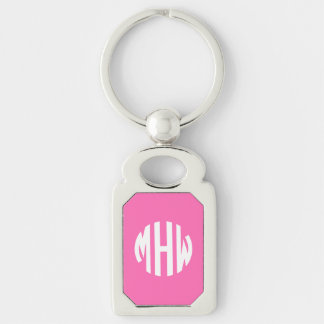 Hot Pink White 3 Initials in a Circle Monogram Silver-Colored Rectangular Metal Keychain