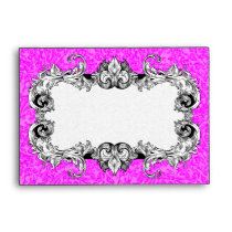 Hot Pink & White A6 Gothic Baroque Envelopes