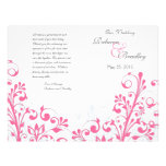 Hot Pink & White Abstract Floral Wedding Program Flyers